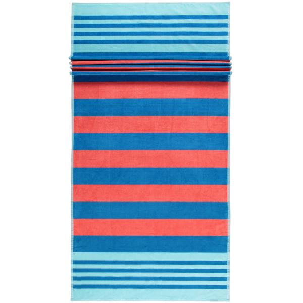 Cawö Beach Strandtuch 5556 Streifen - 80x180 cm - Farbe: blau-koralle - 12